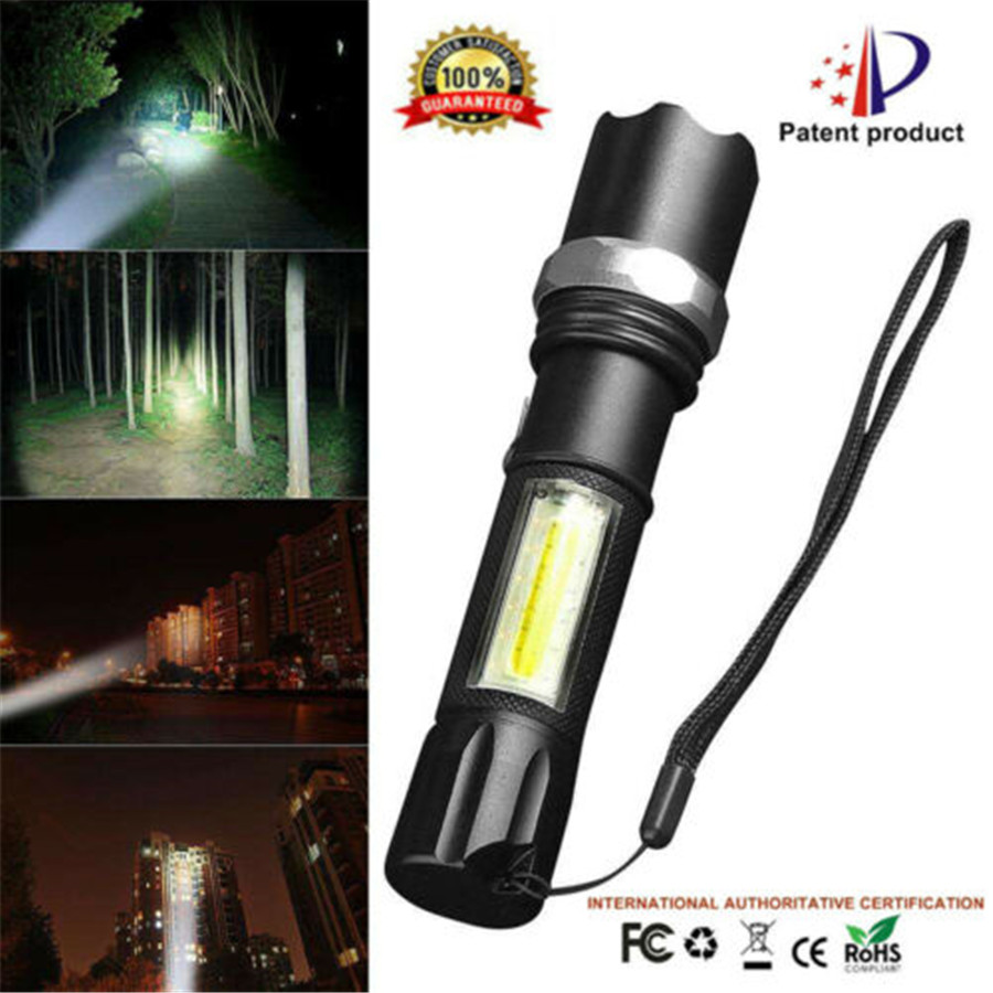 50000LM 2 in 1 Camping Lantern Light Flashlight Zoomable Torch T6 LED Lamp Black