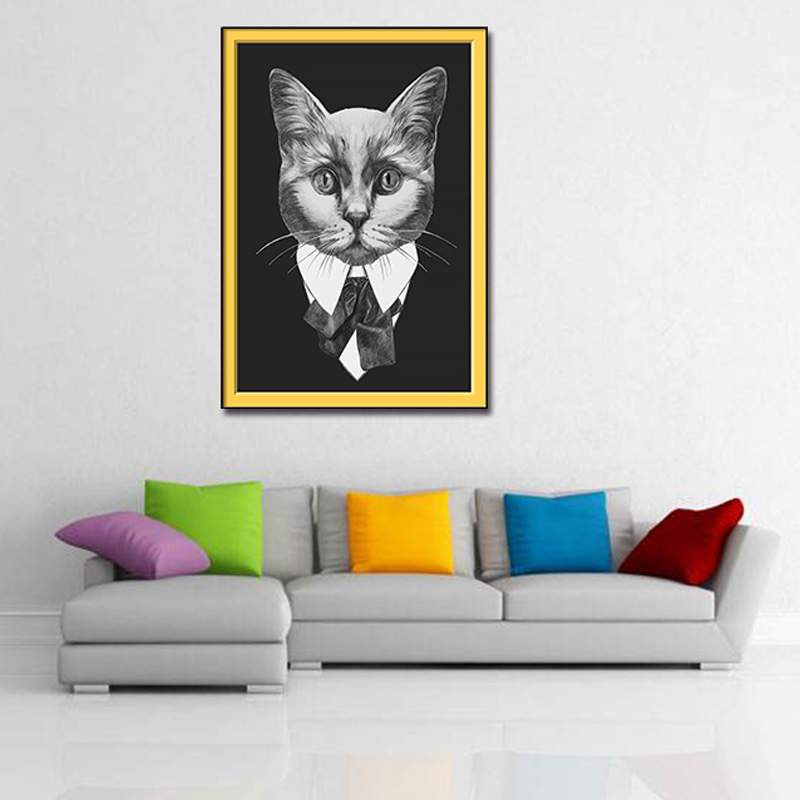 PHOPIN Neutral Style Black suit animal Cats Poster Print Minimalist Wall Art Canvas Painting Landscape Picture Home Decor