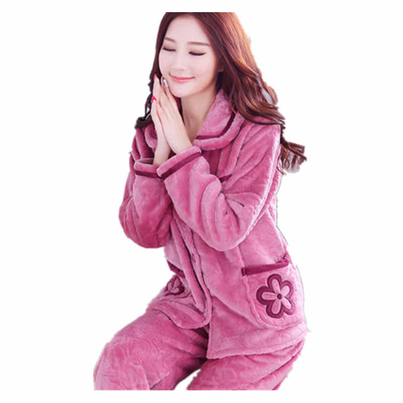 Soft Thick Coral Fleece Women Pajamas Winter Lovely Print Floral Flannel  Sleep Suit Warm Long Sleeve 9569d1236