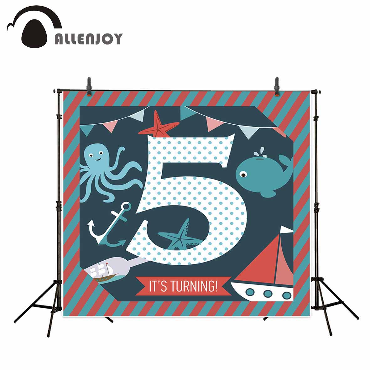 Allenjoy photography backdrops sea theme boat dots fish photographic background New Year's decor photocall new photographic