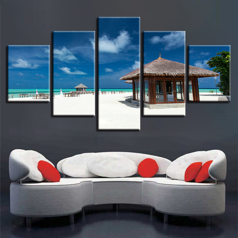 Wall Art HD Printing Painting 5 Pieces Wood Pavilion And Beach Blue Sky White Cloud Seascape Modular Canvas Pictures Decor Home