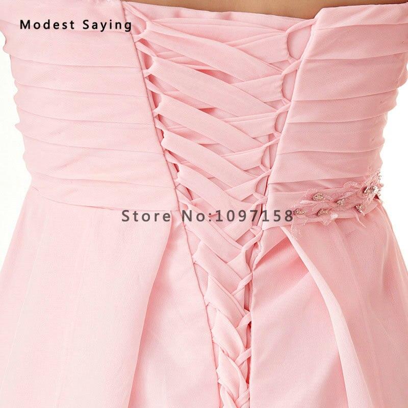 En gros pas cher en mousseline de soie courte robes de demoiselle d'honneur 2017 avec une épaule filles formelles Mini demoiselle d'honneur dentelle fête robes de bal - 6