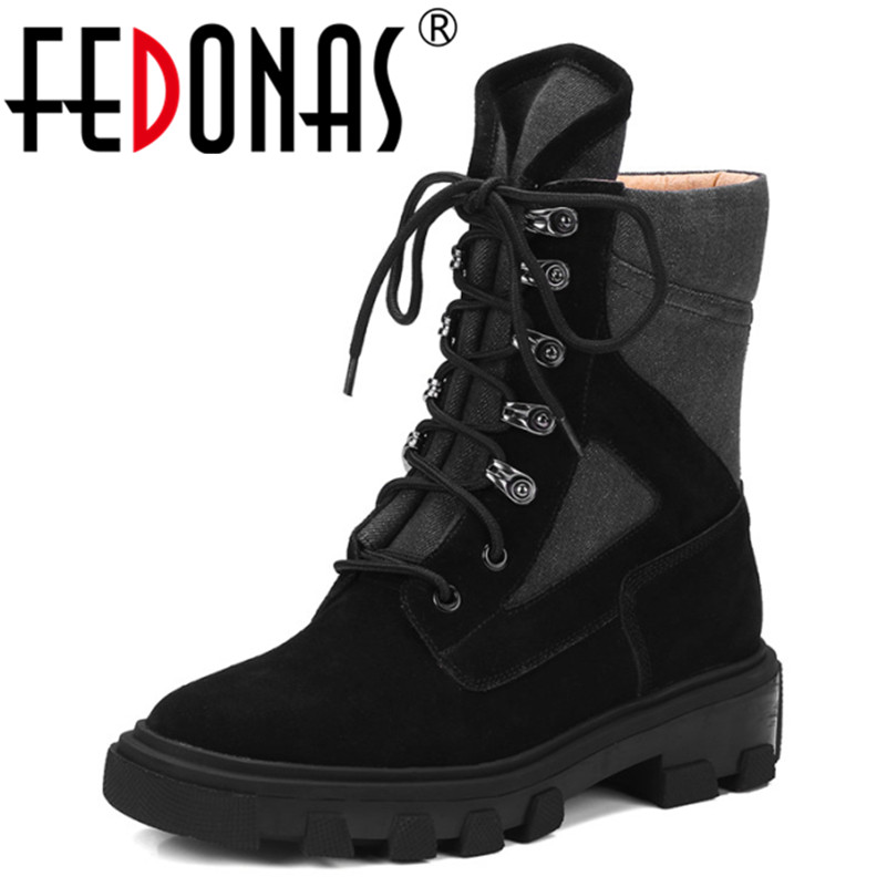 FEDONAS Genuine Leather Boots Punk Square Heels Autumn Winter Ankle Boots Sexy Martin Boots Cross-tied Shoes Woman Size 34-40 real genuine leather boots rivet square heels autumn winter knee boots sexy martin fur snow boots shoes woman size 34 39