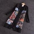 Женщины Весна Лето Верхняя Одежда Куртка Элегантный Офис Дамы Цветочный Принт Лоскутное Черный Пиджак Плюс Размер Куртки Вскользь Пальто