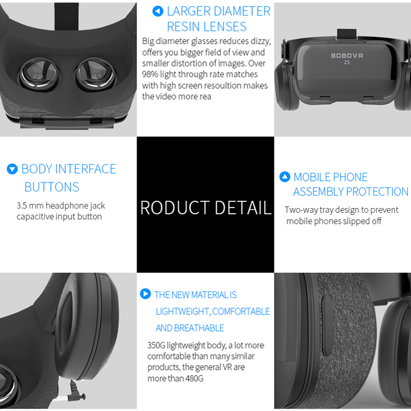 Original BOBOVR Z4 Update Z5 VR 3D Box Helmet Virtual Reality Glasses Smartphone VR Headset for Android 4.7-6.2''In Mobile Phone 5