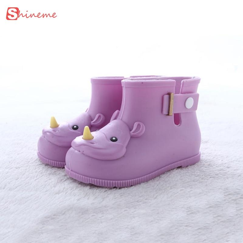 Children Boots Mini Melissa Rhino Girls Rainboots Duck Jelly Shoes Short Water Shoe high quality comfortable