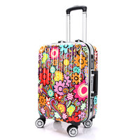 New Woman Multicolor Flower Trolley Case Girls Aluminum Frame Print Travel Suitcase Universal Wheels Trolley Luggage