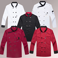 Men Long Sleeve Restaurant Kitchen Chef Uniforms Double Breasted Women Hotel Cook Jacket Food Services Work Wear Chef Tops 18