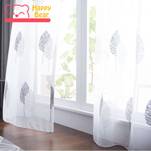 ФОТО customized embroidered etamine tulle curtains for bedroom deocrative window curtainbanyan leave embroidered curtain home curtain