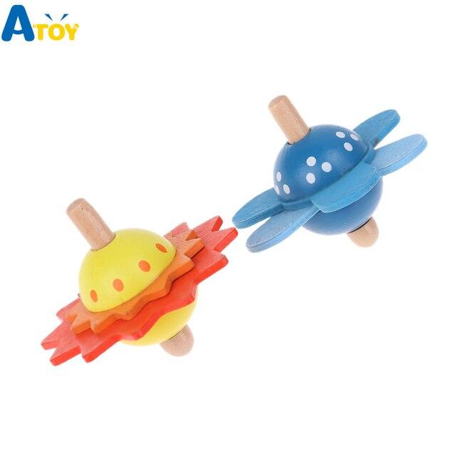 ילדים חינוכיים צעצועי עץ פרח לסובב תינוק עץ צעצועים לילדים סביבון לפתח מודיעין צעצועים חושי מתנה