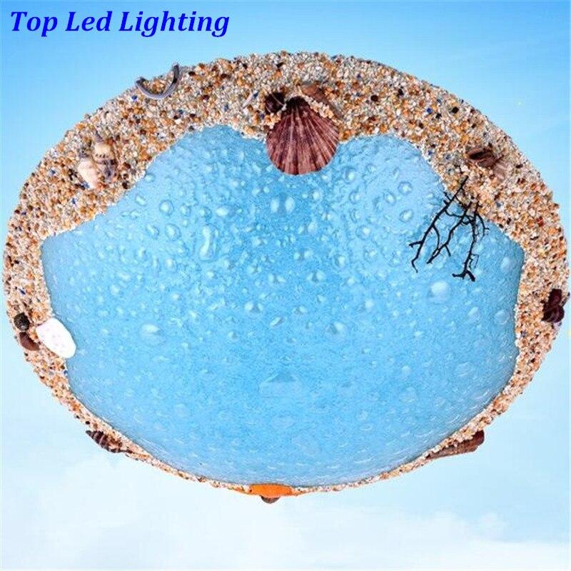 Handmade Mediterranean Sea World of Ocean Blue Glass Led Ceiling Light for Children's Room Bedroom Aisle Entrance 1234 tcp global blue ocean desktop world globe