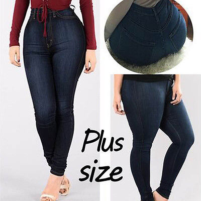 Womens High Waist Pants Trousers Skinny Plus Size Jeans