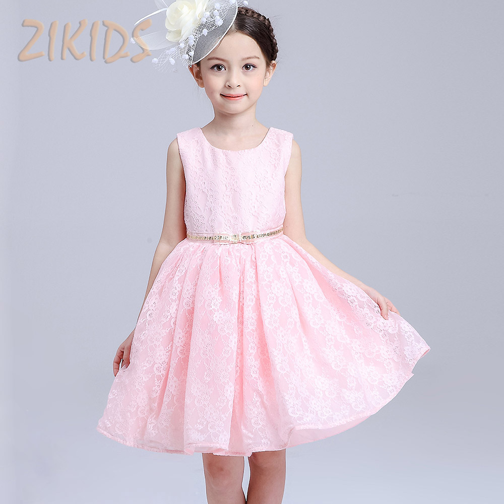 Girls Clothing Summer Dress Girl Princess Birthday Party Dresses For Girls Pink Sleeveless Lace Bow Children Brand Kids Clothes