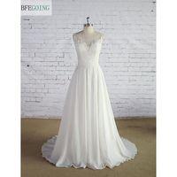 White Chiffon Satin Scoop Sleeveless Strapless A Line Wedding Dress Sweep Train Floor Length Applique Lace