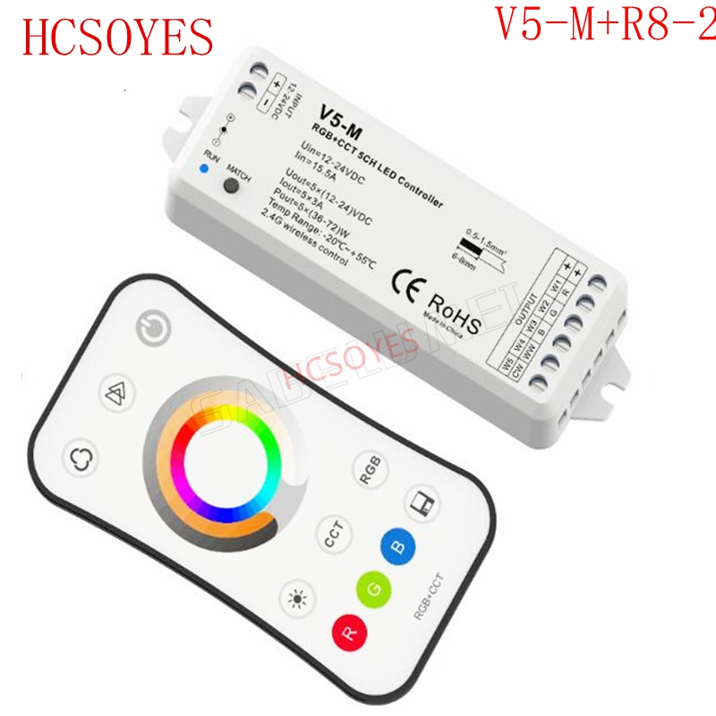 24v 5ch 2.4g Rf Rgb+cct Led Controller Color Temperature Brightness Control For Rgb+cct Led Tape Strip Light Rgb Controlers V5-m+r8-2 Dc12v Lights & Lighting