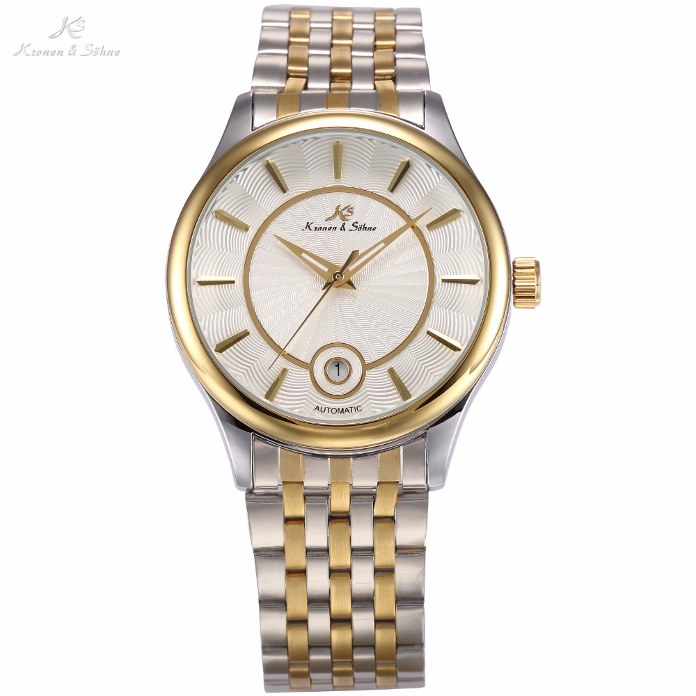 KS Luxury Brand Calendar Display Relogio Silver Gold Dial Steel Band Automatic Self Wind Casual Clock Men Mechanical Watch/KS260 men luxury brand casual gold full steel band skeleton automatic self wind mechanical hand wind goden relogio for man wrist watch