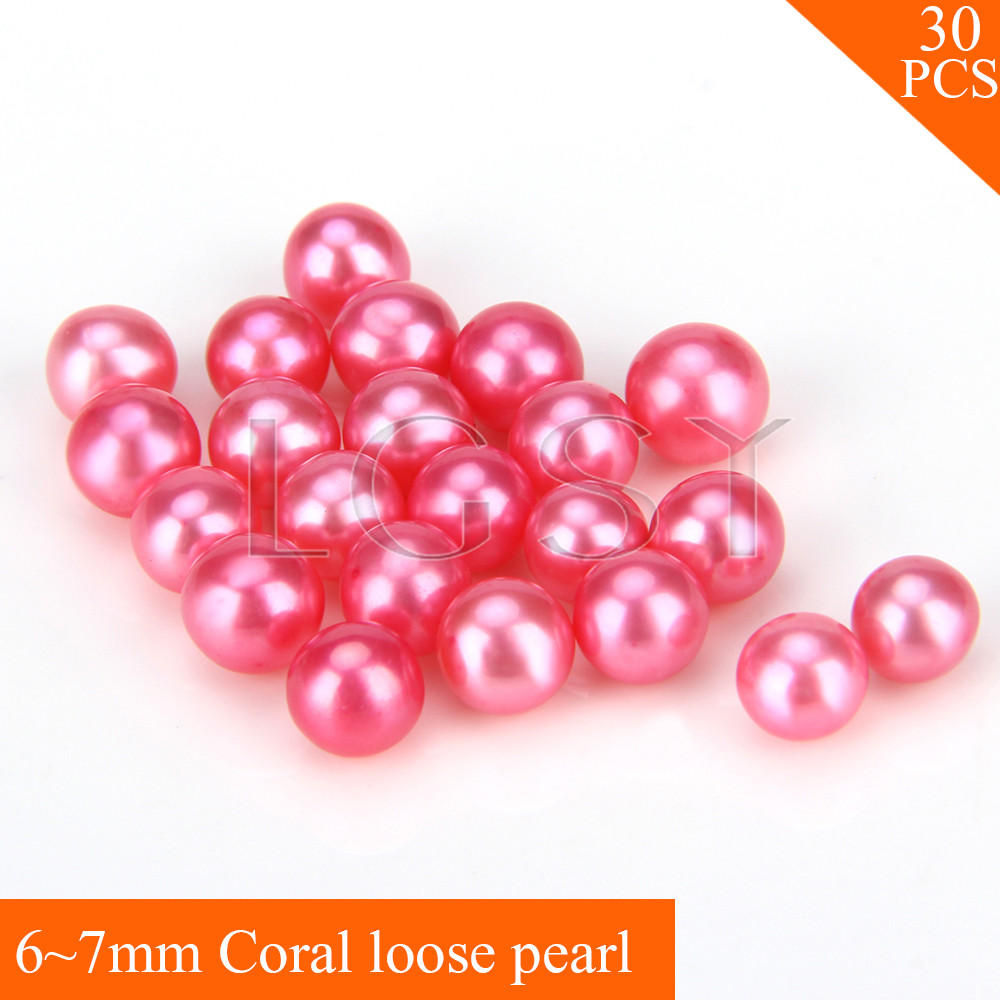 FREE SHIPPING, Beautiful 6-7mm AAA Coral saltwater round akoya pearls 30pcs for fitting Jewelries cluci free shipping get 40 pearls from 20pcs 6 7mm aaa blue round akoya oysters twins pearls in one oysters