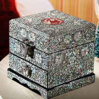 Hand Made Pear Shell linlaid Jewelry Box Storage Lacquerware Lacquer Arts with Lock 11.8 x 11.8 x 12cm Wedding Gift