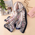 100% Silk Scarf Women Letter Print Big Size Shawls Wraps Luxury Brand Female Vintage Soft Foulard Long bandana 180x90cm