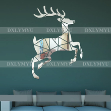 Deer Pattern Wall Sticker 3D Mirror Stickers Acrylic Decor Kids Room Decoration Living Decals