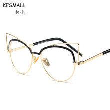 KESMALL 2017 New Prescription Glasses Men Women Fashion Cat Eye Glasses Frame With Myopia Lens Optical Computer Eyewear XN428P