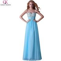 Buổi tối ăn mặc grace karin pha lê đính cườm xanh vàng voan trang phục chính thức robe de soiree longue phụ nữ dresses formal 3524