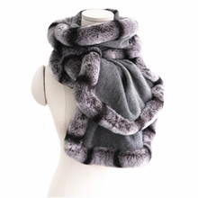 New design wool fur shawl women gray 100% pure scarf female natural rex rabbit chinchilla color trim winter wraps S62