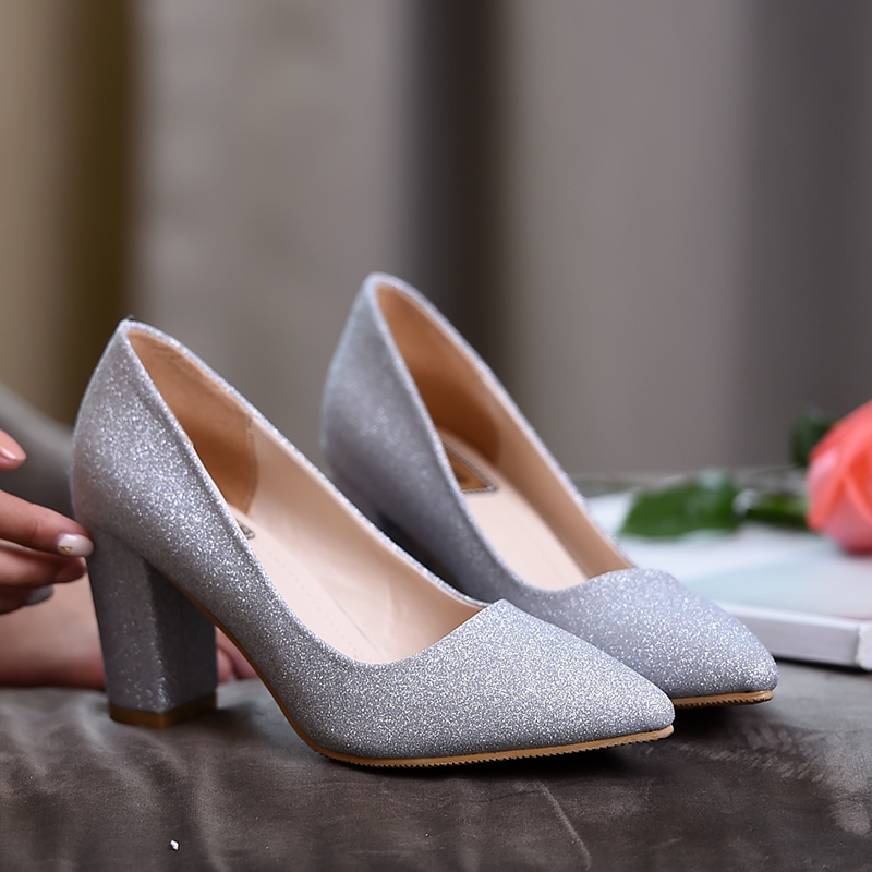Fashion Pointed Toe Sexy Bling Shoes Woman Summer 2018 Breathable High Heels Wedding Shoes Bridal Women Silver Footwear