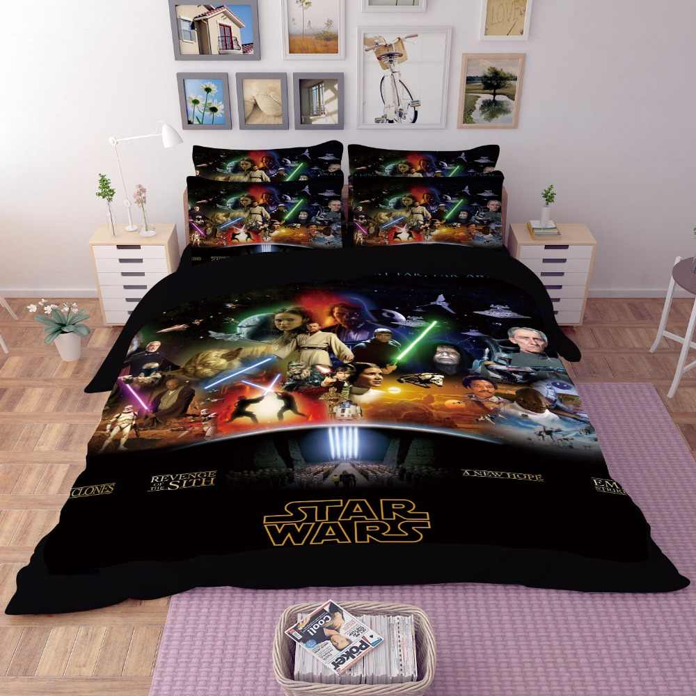 Star Wars 3D Bedding Set Print black Duvet cover Twin full queen king size kids cartoon pattern Real effect lifelike pillowcase