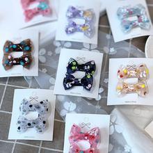 10pcs flower printed chiffon girls hair bows clips bowknot elastic bands ties ring gum summer accessories