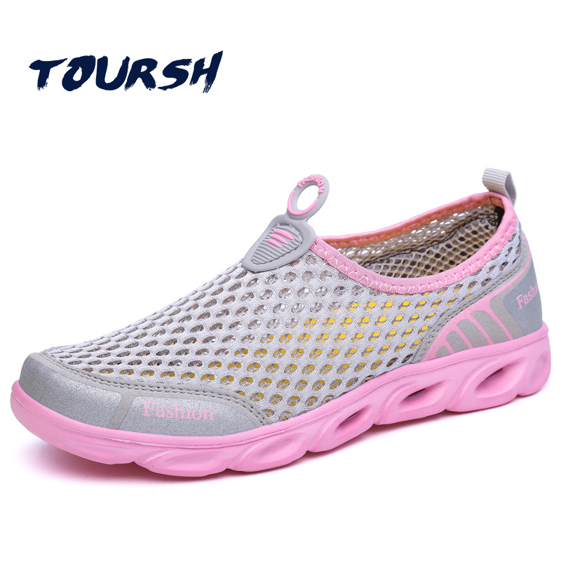TOURSH Flat Shoes Women Sandals Beach Shoes Womens Swimming Water Shoes Super Light Spring Summer Air MeshOutdoor Women Shoes instantarts women flats emoji face smile pattern summer air mesh beach flat shoes for youth girls mujer casual light sneakers