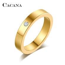 Кольца cacana из нержавеющей стали для женщин простой фианит