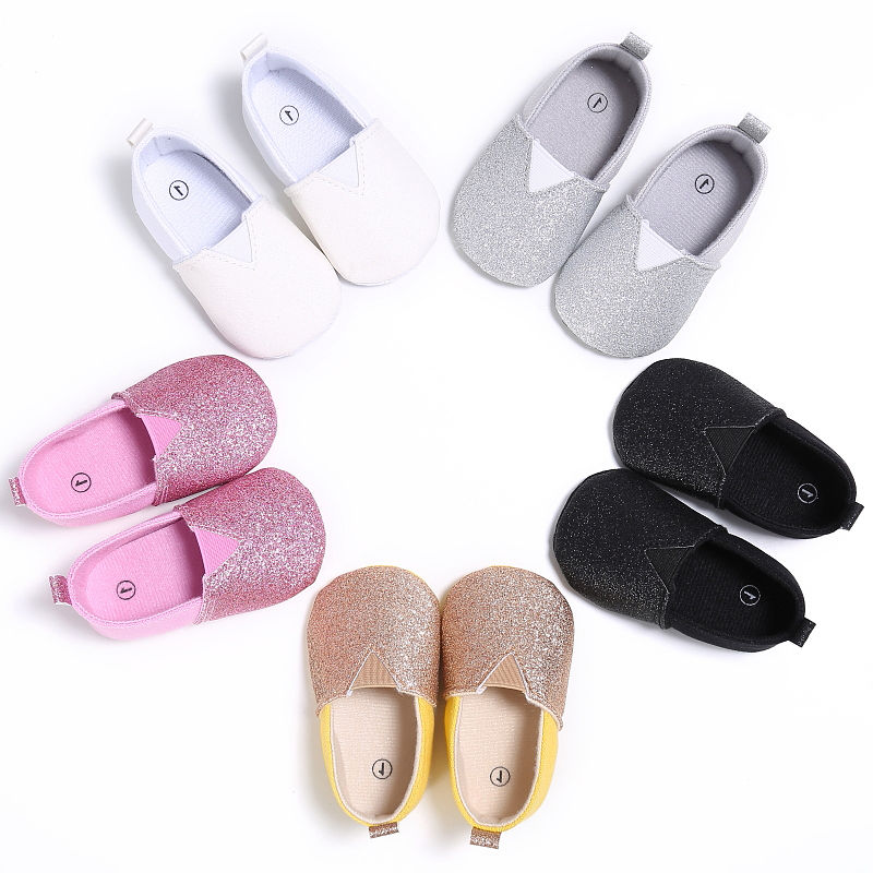 Newborn Infant Baby Boy Soft Sole Shoes Silver Golden Sequins Anti-slip Prewalkers Sandals Crib Tods
