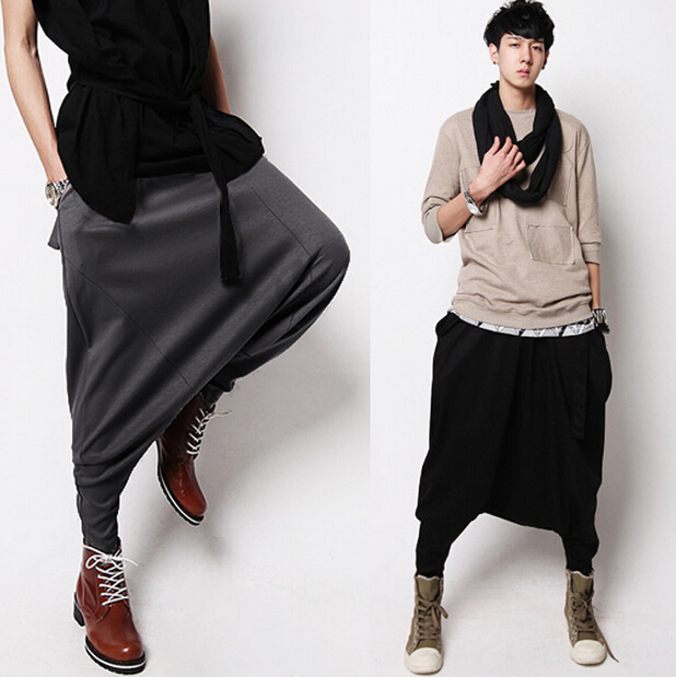 Unique Design Men's Spring and Autumn Casual Harem Pants Elastic Pants Male Big Crotch Trousers