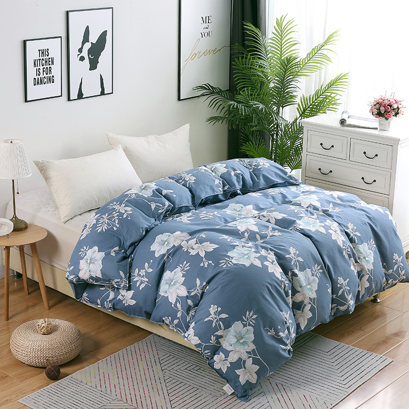 White Flowers Duvet Cover Princess Blue Luxury Quilt Cover Single Double King Ru Europe Family Size 100% Cotton Blanket Cover