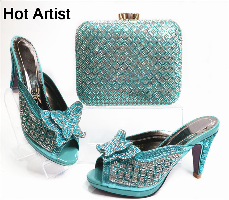 Italian Summer Pumps Shoes And Matching Bag Set Fashion High Heel Shoes And Evening Bag Set