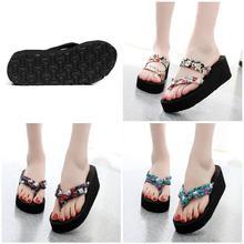 цена на 2019 Fashion Droppshiping Summer Women Flip Flops Slippers High Heel Platform Wedge Thick Beach Casual Thong Sandals Shoes BFJ55