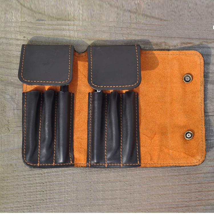 6 holes 100% cowhide genuine leather pen bag pencil bag pen case office business school supply 1275