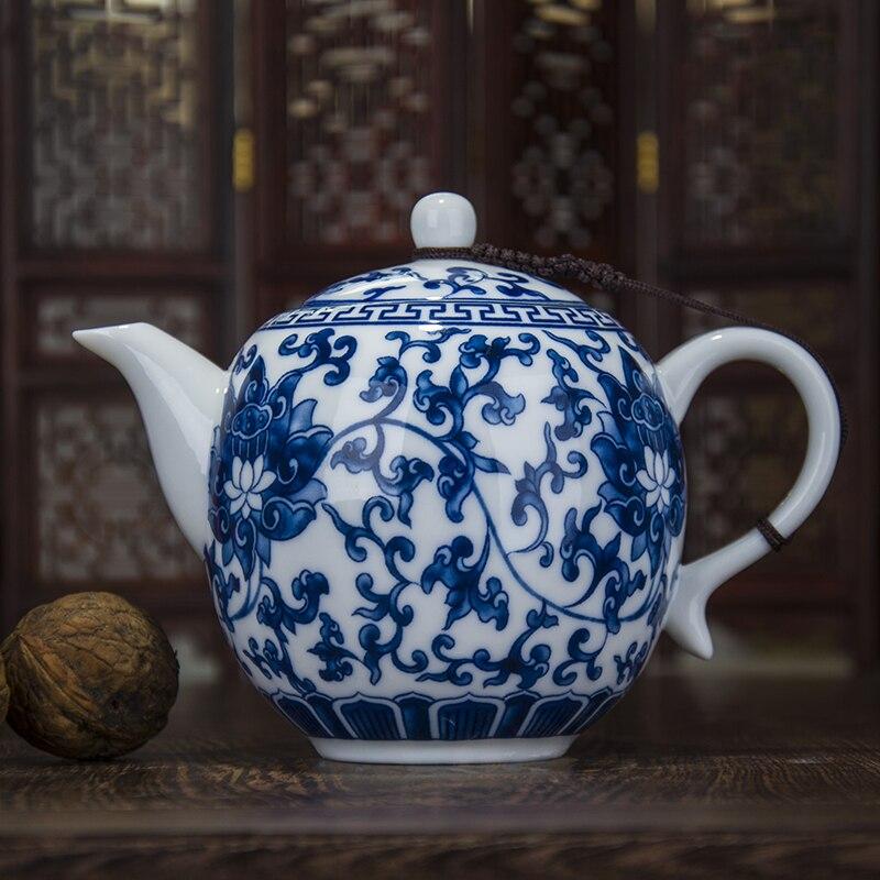Chinese Kung Fu Tea pottery and porcelain teapot Jingdezhen green flower porcelain glaze under glaze office