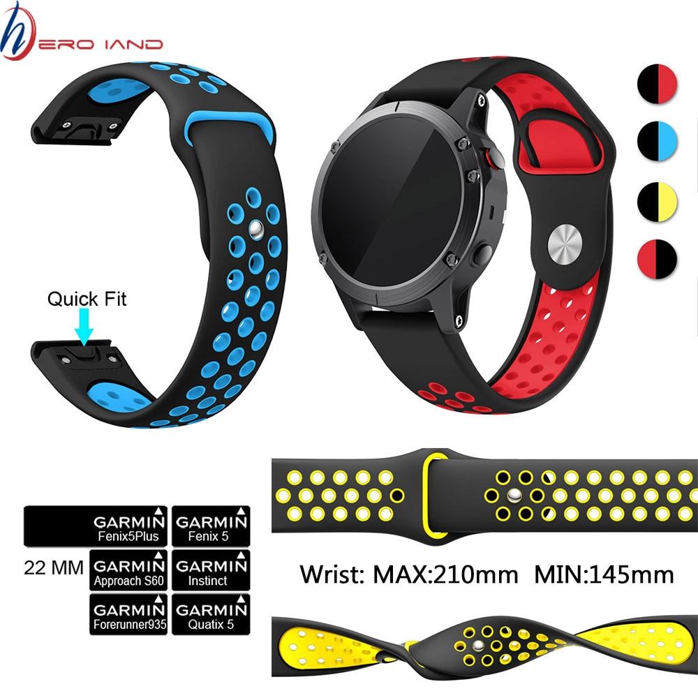 22MM Watchband Strap For Garmin Fenix 5/5 Plus Watch Quick Release Silicone Wrist Band For Garmin Instinct Forerunner 935 945