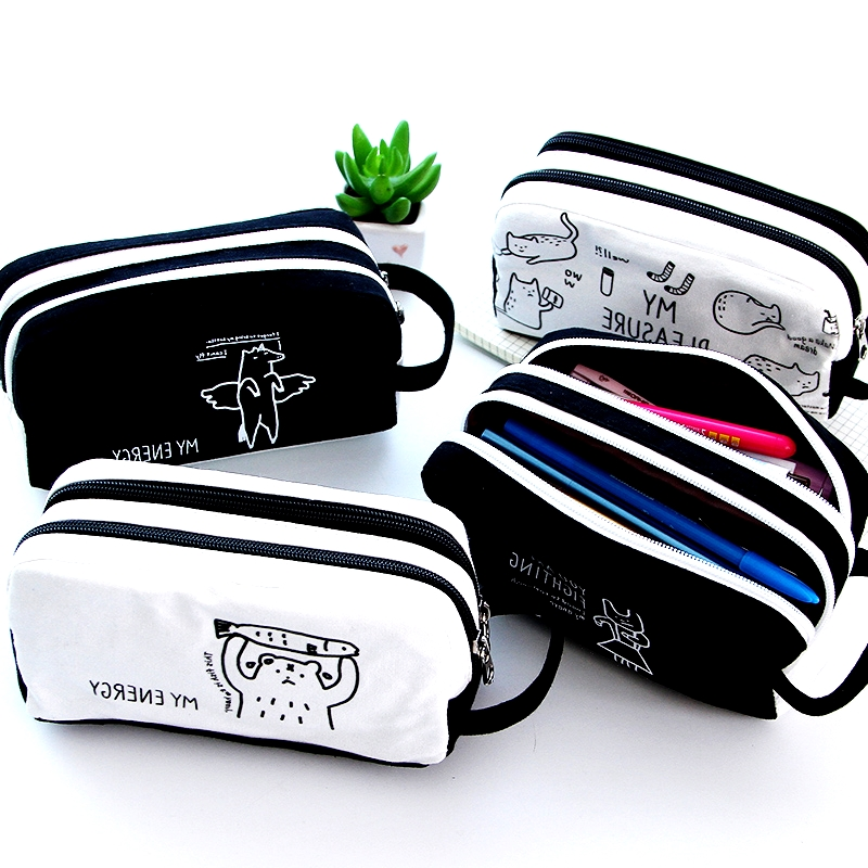 Large Capacity Pencil Case Cavans Pencil Bag Double-layer Pencil Box Student Pen Case School Supplies for Boy Girl