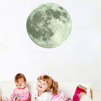 3D Wall Stickers Waterproof Full Moon Luminous PVC Wall Sticker for Kids Room Bedroom Adhesive Wall Pappers