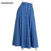 Mori Girl Long Denim Skirt Blue Pink White Saia 2017 Autumn Cotton Linen Single Breasted Jeans