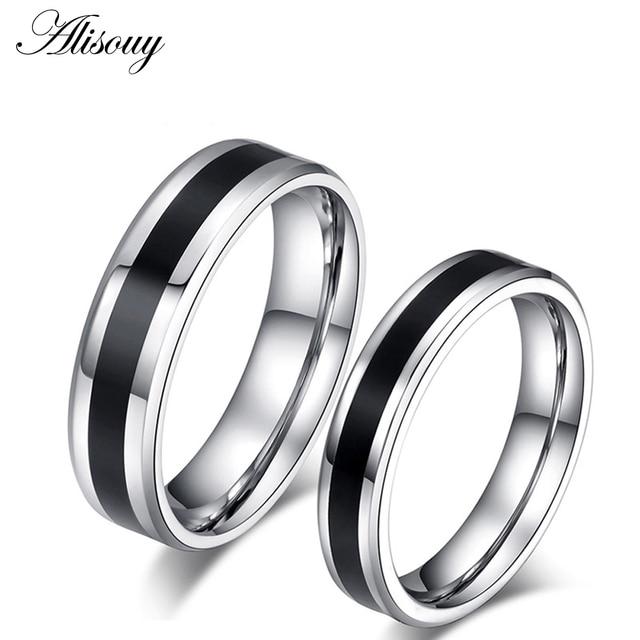 9ec8386eb106 Alisouy pareja anillos titanio acero negro y plata amante compromiso anillo  para amante Simple bandas de