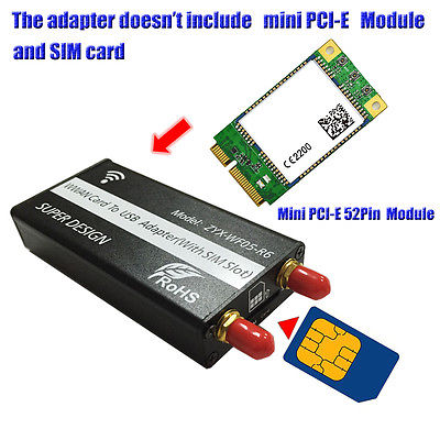 Mini PCI-E to USB Adapter With SIM card Slot for WWAN/LTE Module mini pci e to usb adapter with sim 8pin card slot for wwan lte module mini card to desktop pc support sim 6pin 8pin card connect