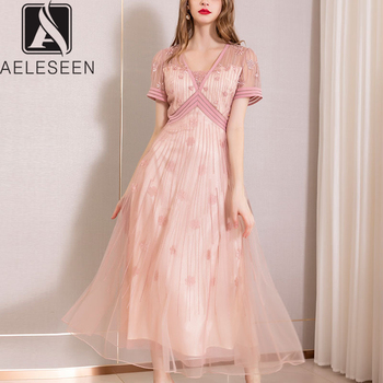 AELESEEN High Quality Slim Dresses Women 2019 Summer New Fashion Beading Mesh Pink Flower Embroidery Mid-Calf Designer Dress