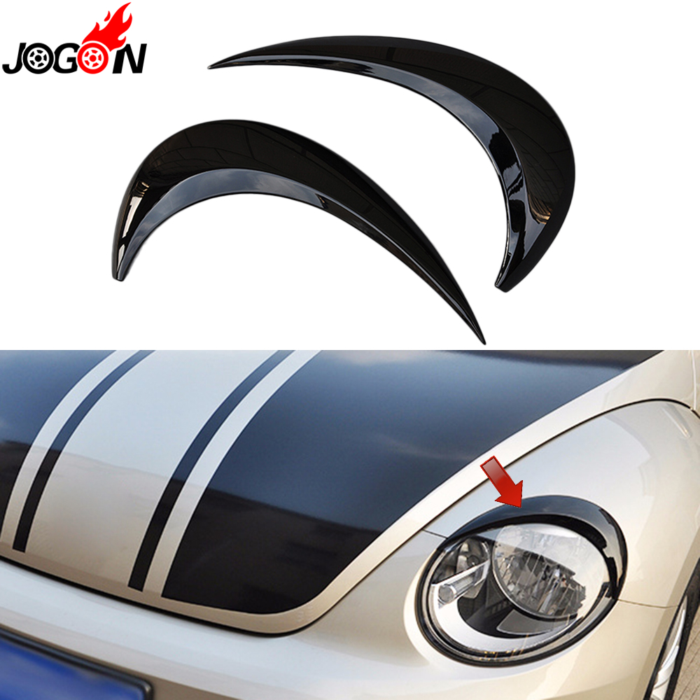 Black For VW Volkswagen Beetle A5 2012 - 2018 Car Headlight Head Lamp Light Eyelid Eyebrow Stickers Cover Trim Accessories car styling head light lamp headlight eyebrow eyelid cover trim chrome decor strip sticker for chevy chevrolet cruze 2009 2014
