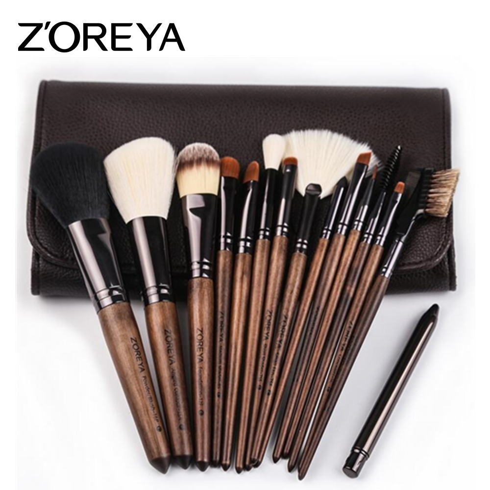 ZOREYA 15pcs Makeup Brush Set Professional Large Foundation Powder Blush Kabuki Cosmetic Make Up Brushes Tools Kits Maquiagem zoreya 9pcs professional portable makeup brushes sets kolinsky hair foundation powder blush make up brush cosmetic tools pinceis