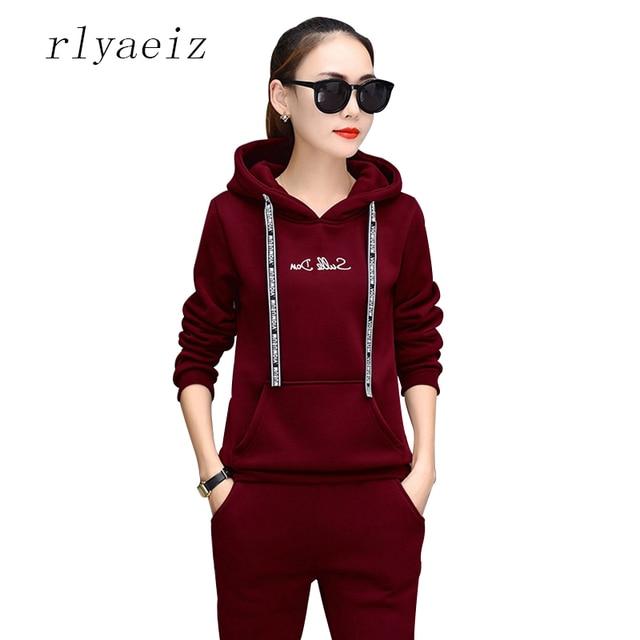 fae8ca04a RLYAEIZ de moda 2 unidades las mujeres deportivos desgaste 2017 Casual con  capucha de lana con capucha sudaderas con capucha + Pantalones otoño  deportivos ...