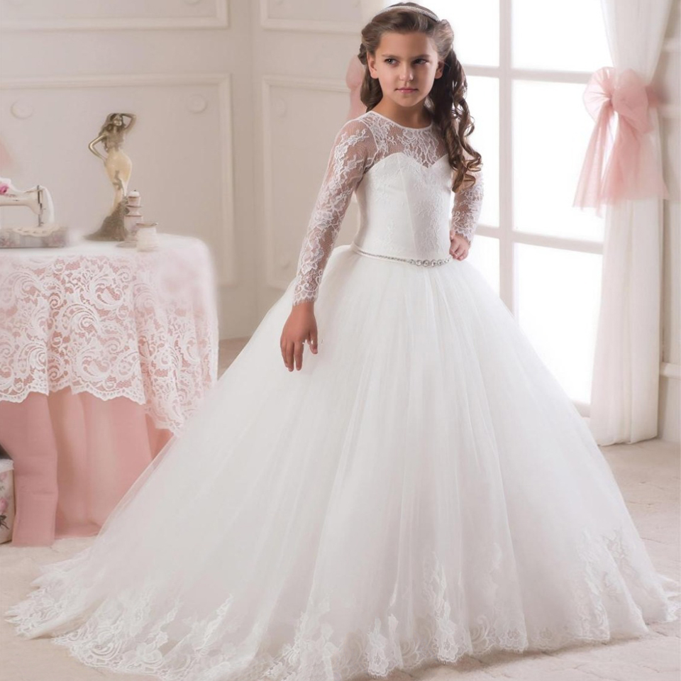 все цены на First Communion Dresses for Girls 2016 Ankle Length Bow Sash Long Sleeves O-Neck Ball Gown Button Pageant Ball Gowns for Girls
